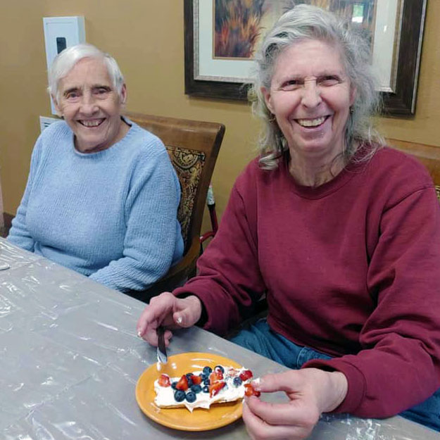 Two seniors have a good time in their retirement living community