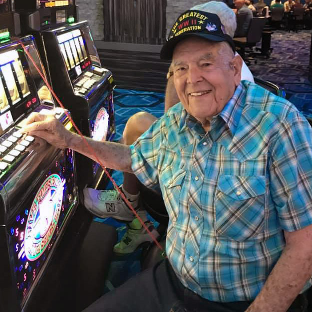 Senior man at casino for his assisted living community