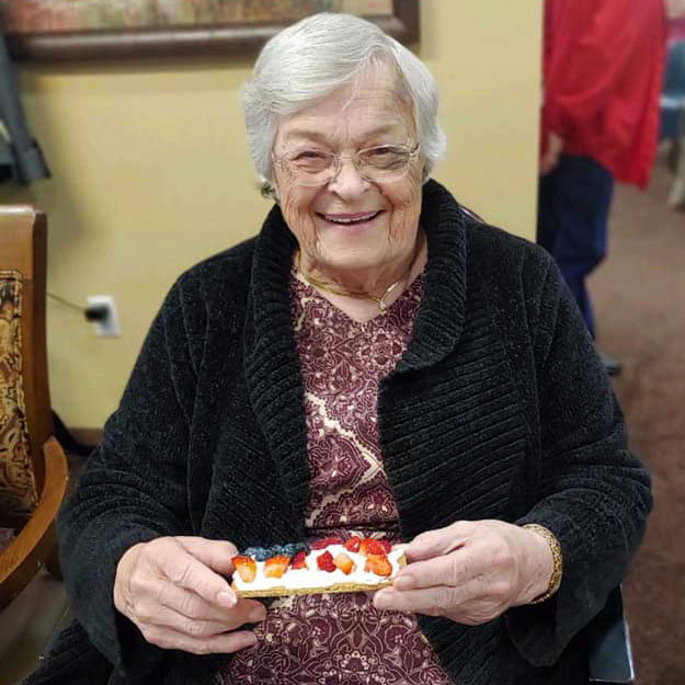 Assisted living senior loves her memory care community