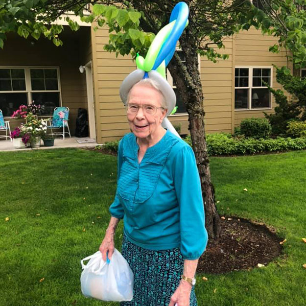 Senior woman in her assisted living community