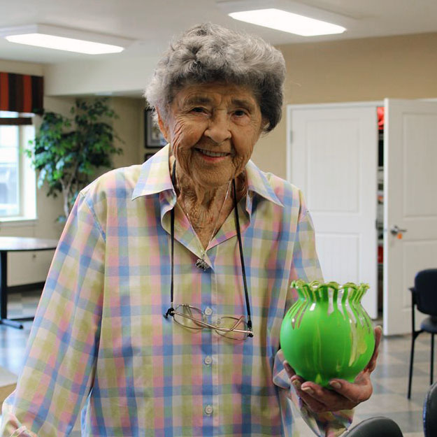 Senior woman enjoy assisted living community