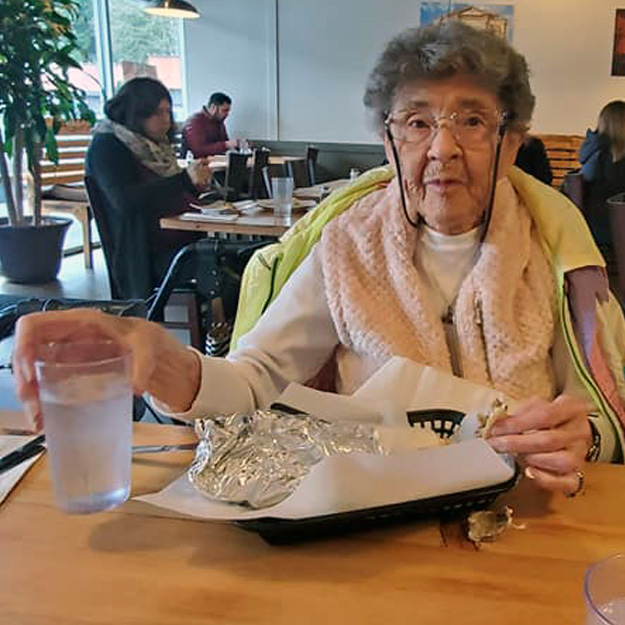 Senior eating food in assisted living