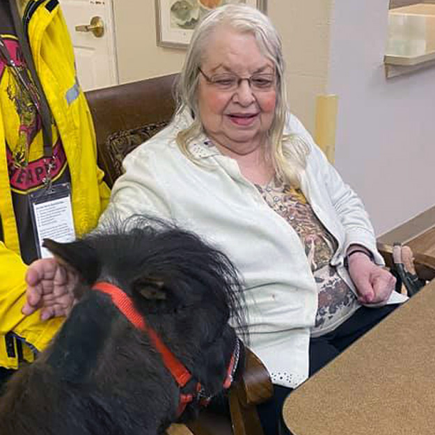 Woman with horse in memory care
