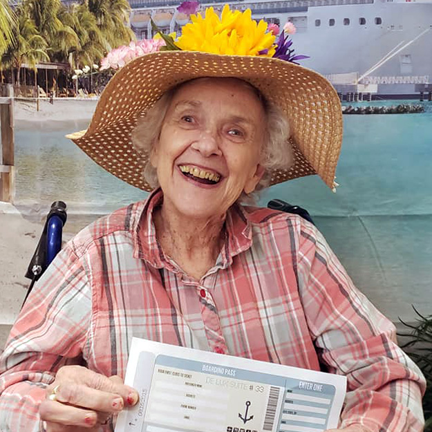 Senior women with hat in assisted living